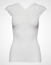 Rosemunde Silk Top Regular W/ Wide Lace T-shirts & Tops Short-sleeved Hvit ROSEMUNDE