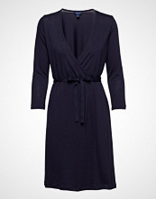 Gant O1. Solid Wrap Dress Knelang Kjole Blå GANT
