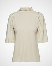 Filippa K Cotton Crepe Pleat Top Bluse Kortermet Creme FILIPPA K