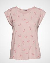 Mango Printed Cotton-Blend T-Shirt T-shirts & Tops Short-sleeved Rosa MANGO