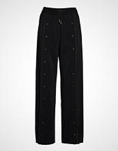 Karl Lagerfeld Wide Leg Snap Pants W/ Logo Vide Bukser Svart KARL LAGERFELD