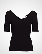 Mango Striped Rib T-Shirt T-shirts & Tops Short-sleeved Svart MANGO