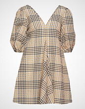 Ganni Seersucker Check Dress Kort Kjole Beige GANNI