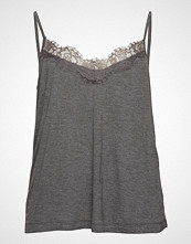 Violeta by Mango Lace Top T-shirts & Tops Sleeveless Grå VIOLETA BY MANGO