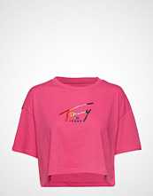 Tommy Jeans Tjw Cropped Tommy Script Tee T-shirts & Tops Short-sleeved Rosa TOMMY JEANS
