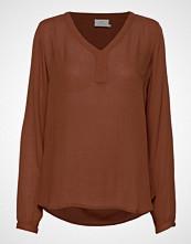 Kaffe Amber L/S Blouse- Min 2 T-shirts & Tops Long-sleeved Brun KAFFE