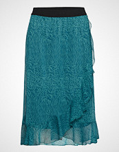 Saint Tropez U8005, Woven Skirt Calf Length Knelangt Skjørt Blå SAINT TROPEZ