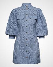 Ganni Broderie Anglaise Mini Dress Kort Kjole Blå GANNI