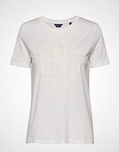 Gant O1. Monogram Ss T-Shirt T-shirts & Tops Short-sleeved Hvit GANT