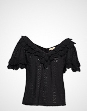 by Ti Mo Broderie Anglaise Top Bluse Kortermet Svart BY TI MO