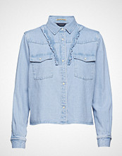 Scotch & Soda Bleached Out Clean Denim Western Shirt With Frill Details Langermet Skjorte Blå SCOTCH & SODA
