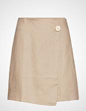 Mango Linen-Blend Wrap Skirt Kort Skjørt Beige MANGO