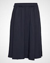 Selected Femme Slfadda Hw Midi Skirt W Knelangt Skjørt Blå SELECTED FEMME