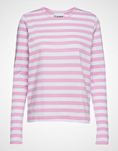 Ganni Striped Cotton Jersey T-shirts & Tops Long-sleeved Rosa GANNI