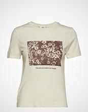 Mango Printed Cotton T-Shirt T-shirts & Tops Short-sleeved Creme MANGO