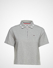 Tommy Jeans Tjw Branded Collar P T-shirts & Tops Short-sleeved Grå TOMMY JEANS