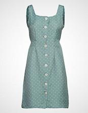 Mango Floral Print Linen-Blend Dress Knelang Kjole Blå MANGO