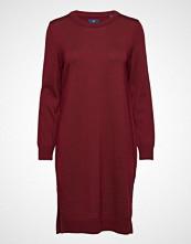 Gant D1. Merino Wool Dress Knelang Kjole Rød GANT