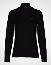 Tommy Jeans Tjw Rib Mock Neck Lo T-shirts & Tops Long-sleeved Svart TOMMY JEANS