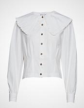 Ganni Cotton Poplin Cropped Shirt Langermet Skjorte Hvit GANNI