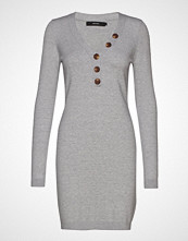 Vero Moda Vmchip Karis Ls V-Neck Button Dress Boo Knelang Kjole Grå VERO MODA