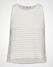 Mango Textured Cotton Top T-shirts & Tops Sleeveless Hvit MANGO