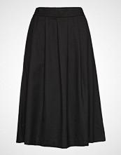 Selected Femme Slfbio Mw Wool Skirt B Knelangt Skjørt Svart SELECTED FEMME