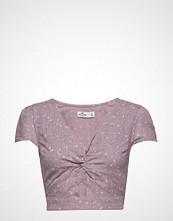 Hollister Ultra Crop Twist Front Top Bluse Kortermet Lilla HOLLISTER