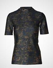 Ganni Lurex Jersey T-Shirt T-shirts & Tops Short-sleeved Blå GANNI