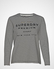 Superdry Dunne Stripe Ls Graphic Top T-shirts & Tops Long-sleeved Svart SUPERDRY