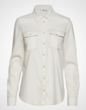 Mango Chest-Pocket Denim Shirt Langermet Skjorte Creme MANGO