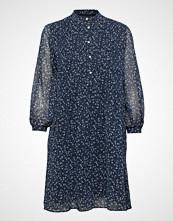 Gant O1. Printed Chiffon Dress Knelang Kjole Blå GANT