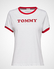 Tommy Hilfiger Ss Tee Slogan T-shirts & Tops Short-sleeved Hvit TOMMY HILFIGER