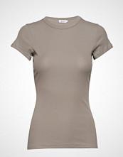 Filippa K Fine Rib Tee T-shirts & Tops Short-sleeved Beige FILIPPA K