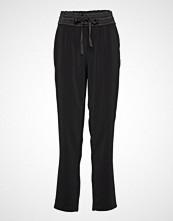 Saint Tropez T5023, Woven Pants Long Bukser Med Rette Ben Svart SAINT TROPEZ