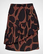 Coster Copenhagen Skirt In Lava Print W. Tie Band At Kort Skjørt Brun COSTER COPENHAGEN