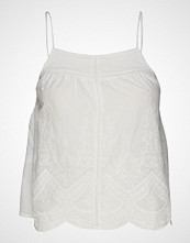 Mango Embroidered Cotton Top T-shirts & Tops Sleeveless Hvit MANGO