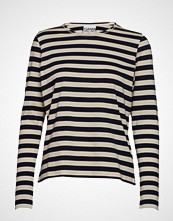 Ganni Striped Cotton Jersey T-shirts & Tops Long-sleeved Svart GANNI
