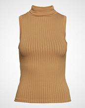 Mango Turtleneck Ribbed Top T-shirts & Tops Sleeveless Brun MANGO