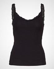 Mango Ribbed Cotton-Blend Top T-shirts & Tops Sleeveless Svart MANGO