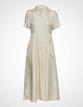 Calvin Klein Silk Twill Long Shirt Dress Ss Knelang Kjole Creme CALVIN KLEIN