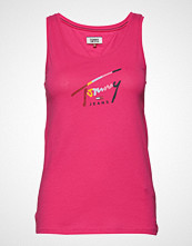 Tommy Jeans Tjw Tommy Script Tank T-shirts & Tops Sleeveless Rosa TOMMY JEANS