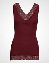 Rosemunde Organic Top V-Neck Regular W/Lace T-shirts & Tops Sleeveless Rød ROSEMUNDE