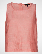 Banana Republic Sl Linen Button Back Top Bluse Ermeløs Rosa BANANA REPUBLIC
