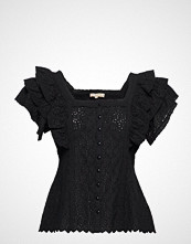 by Ti Mo Broderie Anglaise Blouse Bluse Kortermet Svart BY TI MO