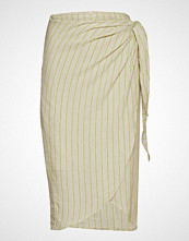 Mango Striped Wrap Skirt Knelangt Skjørt Creme MANGO