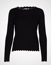 Mango Scalloped Details Sweater Strikket Genser Svart MANGO