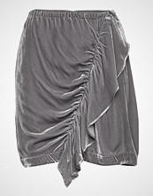 DESIGNERS, REMIX Short Velvet Skirt With Front Drape Kort Skjørt Grå DESIGNERS, REMIX