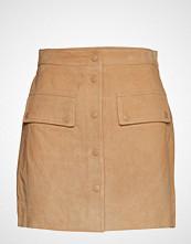 Mango Leather Miniskirt Kort Skjørt Beige MANGO