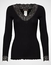 Rosemunde Organic T-Shirt V-Neck Regular Ls W T-shirts & Tops Long-sleeved Svart ROSEMUNDE